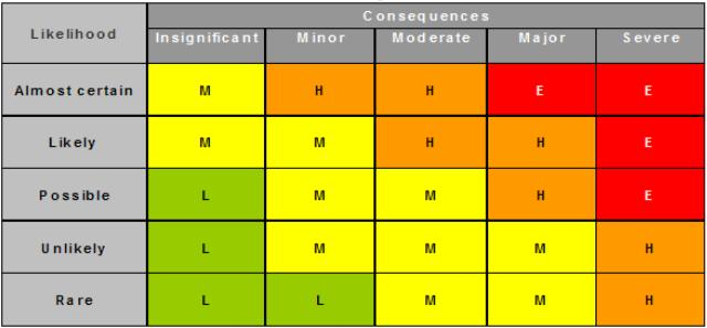 ISO31000 based risk matrix